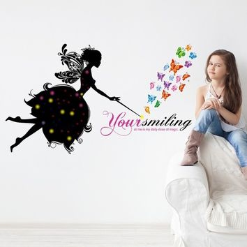 Fairy Girl Butterfly Removable Vinyl Decals for Girl's bedroom Kindergarten Nursery Kids Child Room Home Decor Art Mural DIY Wal