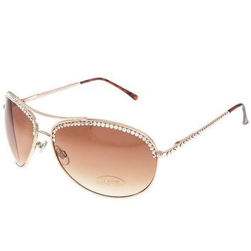Ava Swarovski Crystal Embellished Aviator Sunglasses