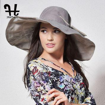 DCCK1IN FURTALK summer hats for women with big brim double-sided foldable brimmed female beach sun hat with big bowknot