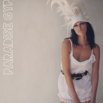 All White Feather & Leather Mohawk Headdress by Paradise Gypsies