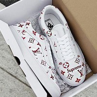 Supreme x LV x Vans Trending Women Men Casual Flat Low Help Sport Shoe Sneakers White Red I