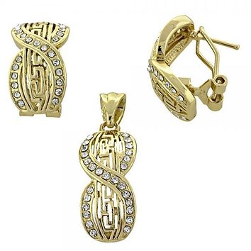Gold Layered 10.59.0180 Earring and Pendant Adult Set, Greek Key and Infinite Design, with White Crystal, Polished Finish, Gold Tone