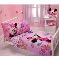 Minnie Mouse - Flower Garden 4-piece Toddler Bedding Set