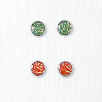 Red/green round stud earrings, small earrings, abstract, Japanese washi studs, Asian inspired, hypoallergenic surgical steel, made to order