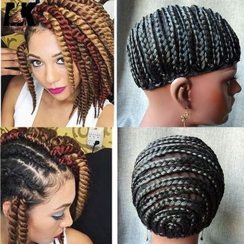 2pcs Hot Sale Braid Synthetic Wig Cap Cornrow Brading Wig Crochet Caps With Adjustable Straps