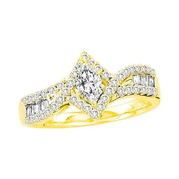 14kt Yellow Gold Women's Marquise Diamond Solitaire Bridal Wedding Engagement Ring 3/4 Cttw - FREE Shipping (USA/CAN)