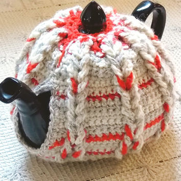 Cabled Tea Cosy / Crochet Teapot Cozy / Red, White & Taupe