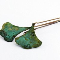 Small Ginkgo Brass Leaf Earrings - Verdigris Patina