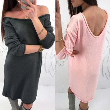 Fashion Womens Solid O-Neck Sweater Casual Long Sleeve Pullove Backless Dress
