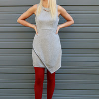 Happy Hour Envelope Skirt Heather Gray Dress