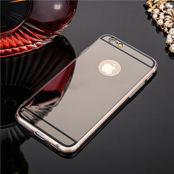 Shiny Mirror Soft TPU Silicon Ultra thin Glitter Back Cover Phone Cases for iphone 6 6s 6plus 6splus 7 7plus 5 SE 5s case coque