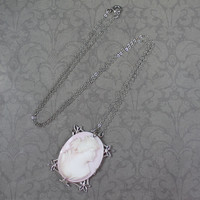 Vintage White and Pale Pink Silver Filigree Framed Cameo Necklace