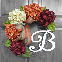 Fall Wreaths - Wreaths for Front Door - Hydrangea Wreath - Monogram Wreath - Front Door Wreath - Front Door Decorations - Door Wreath