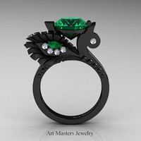 High Fashion Nature Inspired 14K Black Gold 3.0 Ct Emerald Diamond Marquise Eye Engagement Ring R359S-14KBGDEM