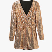 Gold Sequin V Neck Long Sleeved Romper
