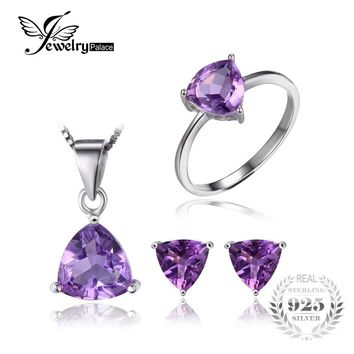 JewelryPalace Trillion 4ct Natural Gemstone Amethyst Ring Earrings Pendant Necklace Jewelry Sets  925 Sterling Silver For Women