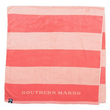 Stripes Beach Towel in Coral & Peach by Southern Marsh