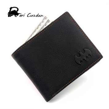 DERI CUZDAN Batman Wallets Men's Genuine Leather Wallet Simple Thin Wallet Men Anime Purses Male Portfolio Men's Wallets Vallet