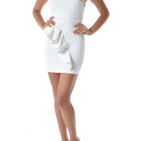 (and) Ruffle white and gold bodycon sleeveless dress