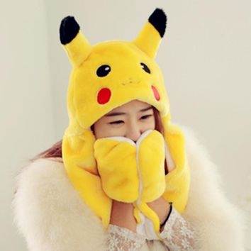 Pikachu Pokemon Go Plush Animal Fuzzy Beanie Hat Winter Costume Cosplay