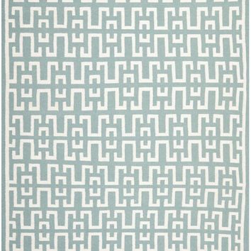 Dhurries Contemporary Indoorarea Rug Seafoam / Ivory