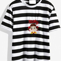 Black and White Stripe Cartoon Embroidered T-Shirt