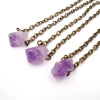 Rough Amethyst - Raw Crystal Necklace - Dainty Choker - Choker Layered - Boho Layered Choker - Hippie Jewelry Ideas - Gold Gemstone Choker
