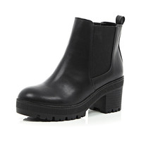 River Island Womens Black chunky cleated sole Chelsea boots