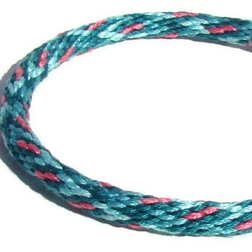 Teal and pink kumihimo bracelet with stainless steel magnetic clasp