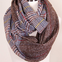 Brown and Mixed Color Plaid Infinity Scarf