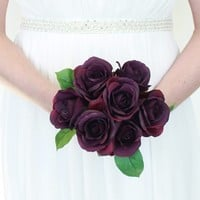 "Silk Rose Bouquet in Eggplant<br>9"" Tall x 7"" Bouquet Head Diameter"