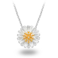 Tiny Daisy Flower Sterling Silver Pendant Necklace S925
