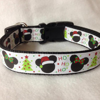 "Nylon w/Christmas Mickey & Minnie Ribbon Martingale or Quick Release Collar Ribbon Collar 1"" Martingale 1.5"" Martingale Collar Christmas"