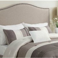 Modern Arch Upholstered Padded Beige Tan Taupe Linen Fabric Headboard with Metal Nailheads - Queen