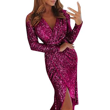 Women Deep V Sequins Wrap Ruched Long Sleeve Nightclub Dress Winter Dresses Women Sexy Dresses Party Night Club Dress