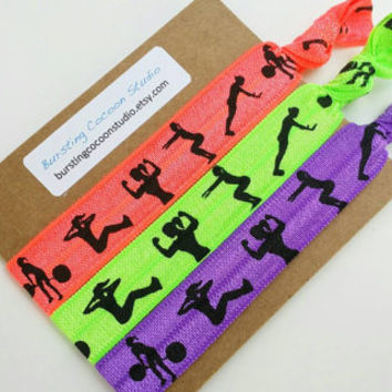 workout hair ties, neon hairties, fitness hair ties, workout girl silhouettes ponytail holder, knot elastic, gym wear, active wear, weight