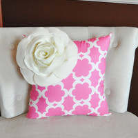 Ivory Corner Rose Flower on Pink Tarika Pillow -Accent Pillow Throw Pillow Toss Pillow Baby Nursery Pillow