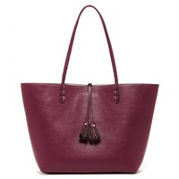 Reversible Tassel Tote With Pouch