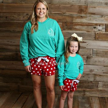 Christmas Pajamas - Teal Top / Polka Dot Pajama Shorts