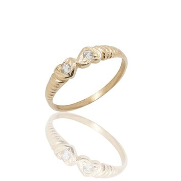 Two Hearts 14K Gold Ring