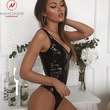 Lovely Ladies Sexy Leather One Piece Bodysuits