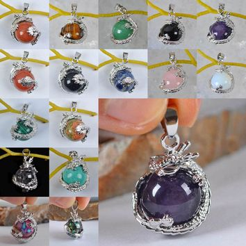 Black Carnelian/Opal/Rose Crystal/Tigereye/Purple Crystal/Brazilian Sodalite/Abalone Shell Bead GEM Pendant Jewelry Dragon 1PCS