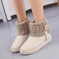 Hot Deal On Sale Anti-skid Winter Thick Crust Cotton Flat Boots [79793291289]