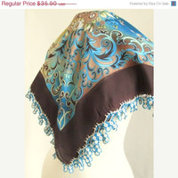 Brown mixed colorful SQUARE, Traditional Turkish Oya  Scarf,authentic, romantic, elegant, fashion,weddings,bridal,vintage,rustic