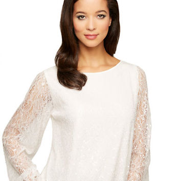 Alex Evenings Long Sleeved Sequin Blouse