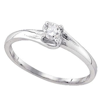 10kt White Gold Women's Round Diamond Solitaire Promise Bridal Ring 1/10 Cttw - FREE Shipping (US/CAN)