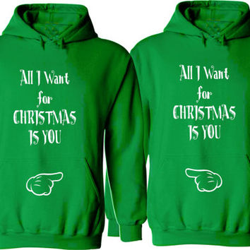 a00513c55254 All I Want for Christmas Is You. Couple Hoodies. Unisex Size Hoodies. Cozy