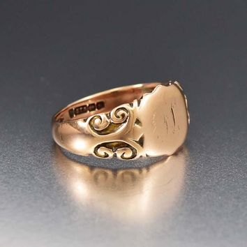 Best Mens Victorian Heavy Gold Signet Ring