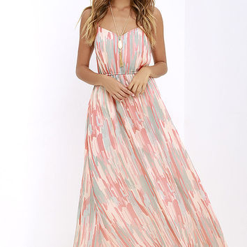 Jack by BB Dakota Hildy Peach Print Maxi Dress