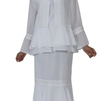Hosanna 5140 Plus Size 3 Piece Set White Tea Length Dress